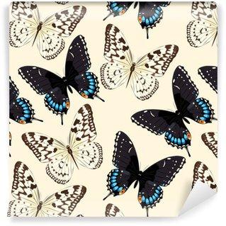 Papier peint vinyle sur mesure Papillons bleus sans soudure