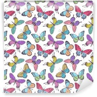 Papier peint vinyle sur mesure Papillons multicolores sans soudure