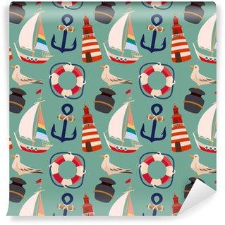 Papier peint vinyle sur mesure Rétro modèle sans couture de bord de mer avec voilier de dessin animé, ancre, phare