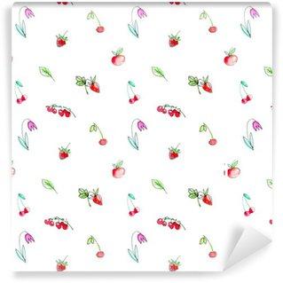 Papier peint vinyle sur mesure Seamless avec des fruits de jardin et berries.Cherry, framboise, groseille, fraise, pomme et fleur. Aquarelle tiré par la main illustration.White fond.