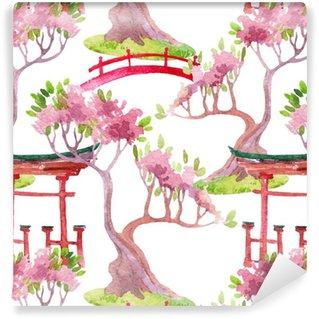 Papier peint vinyle sur mesure Seamless japonais