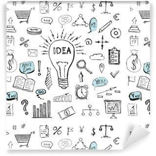 Papier peint à motifs vinyle Symboles d'affaires dessinés à la main doodle