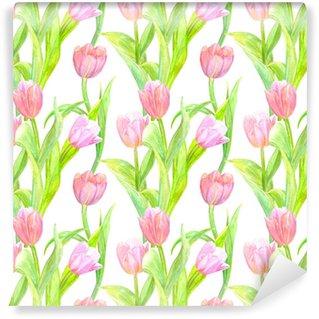 Papier peint vinyle sur mesure Texture transparente avec des tulipes élégantes pour votre conception. la peinture à l'aquarelle