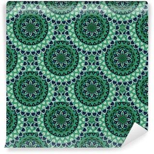 Papier peint vinyle sur mesure Texture transparente florale ornée, modèle sans fin avec des éléments de mandala vintage.