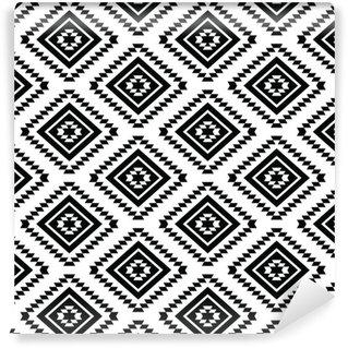 Papier Peint à Motifs Vinyle Tribal seamless - fond noir et blanc aztèque