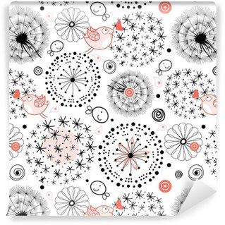 Papier peint vinyle sur mesure Un motif de silhouettes de pissenlits