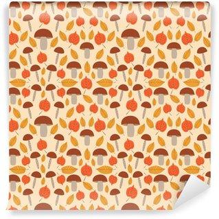 Papier peint vinyle sur mesure Vecteur de modèle de forêt d'automne sans soudure. feuilles d'or arbre et champignons fond. copie de nature pour la bannière saisonnière, papier peint d'enfants, paquet normal, papier d'emballage ou modèle de carte de thanksgiving.