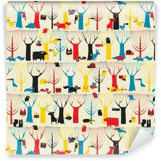Dřevo Zvířata tapisérie bezešvé vzor v barvách modernistických