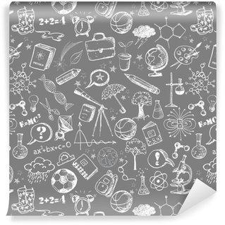 Tapete Hand gezeichnet Schule-Ikonen auf linierten Sketchbook Paper ...