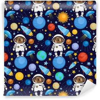 Buntes nahtloses Karikaturraummuster mit Hundeastronauten, Raketen, Planeten, Sterne auf sternenklarem Hintergrund des nächtlichen Himmels, Vektorillustration. Nahtloses Muster der netten Raumreise mit Hundeastronauten