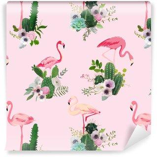 Selbstklebende Tapete nach Maß Flamingovogel und tropischer Kaktus blüht Hintergrund. Retro- nahtloses Muster im Vektor