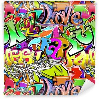 Selbstklebende Tapete Graffiti Wand. Urbane Kunst Vektor Hintergrund. Nahtlose Muster