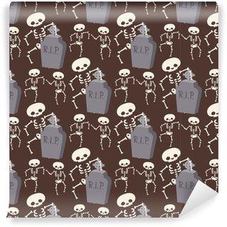 Selbstklebende Tapete nach Maß Halloween-Skelett nahtlose Muster Hintergrund Nacht Rip Partei Süßes oder Saures Süßigkeiten Vektor-Illustration.