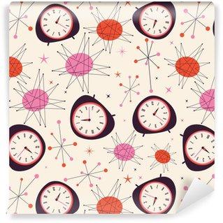 Mitte Jahrhundert Uhr Muster. Retro Vintage Fünfziger Jahre Stil Vektor  Muster. Zeitkonzept.