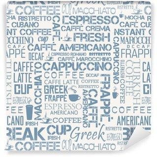 Nahtlose Fliese des Kaffees von Wörtern und von Symbolen