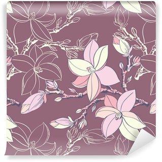 Selbstklebende Tapete nach Maß Nahtlose Vintage Muster mit Magnolien blühen
