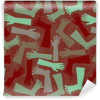 Selbstklebende Tapete nach Maß Nahtloser einfarbiger menschlicher Körper mit Augen, Händen und Füßen kopieren Hintergrund