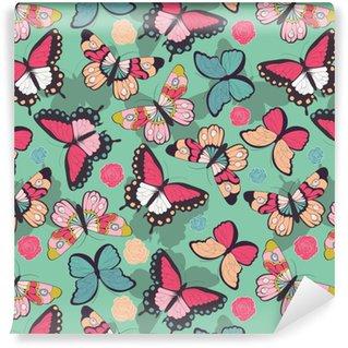 Selbstklebende Tapete nach Maß Nahtloser Vektor-Muster mit handgezeichneten bunten Schmetterlingen
