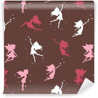 Nahtloses Muster mit Silhouette der schönen Fee auf dunklem Hintergrund. Vektor-Illustration.