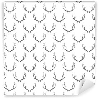 Selbstklebende Tapete nach Maß Tierhörner nahtlose Muster auf weißem Hintergrund