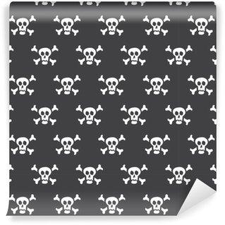 Selbstklebende Tapete nach Maß Weiße Schädel des nahtlosen Musters mit den Knochen auf einem schwarzen Hintergrund