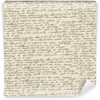 Abstract handwriting on old vintage paper. Seamless pattern, vec Self-Adhesive Wallpaper
