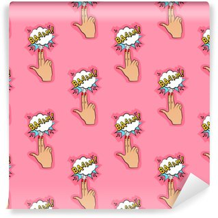 Abstract seamless pin up pattern for girls, boys, clothes. Creative vector pin up background with fingers gun, cloud. Funny pattern wallpaper for textile and fabric. Fashion pop art style. Self-adhesive custom-made wallpaper