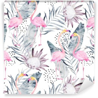 Abstract tropical pattern with flamingo, protea, leaves. Watercolor seamless print. Minimalism illustration Self-adhesive custom-made wallpaper