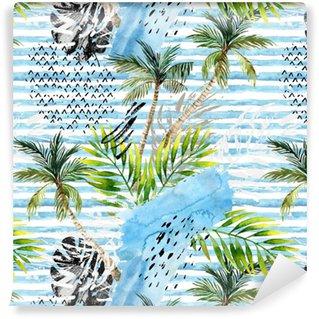 Abstract watercolor summer seamless pattern. Self-adhesive Custom-made Wallpaper