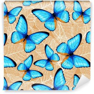 Blue butterflies seamless Self-adhesive Custom-made Wallpaper