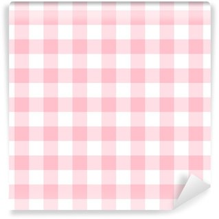 Checkered seamless pattern in feminine light pink and white Self-adhesive custom-made wallpaper