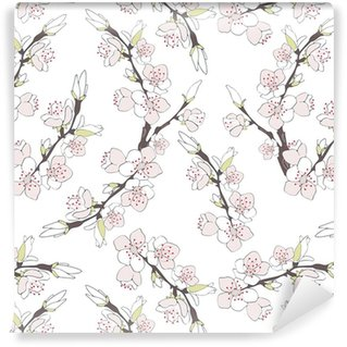 Cherry branch in blossom isolated on white background. Self-adhesive Custom-made Wallpaper