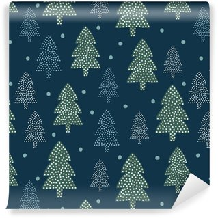 Christmas pattern - Xmas trees and snow. Happy New Year nature seamless background. Forest design for winter holidays. Vector winter holidays print for textile, wallpaper, fabric, wallpaper. Self-adhesive Custom-made Wallpaper