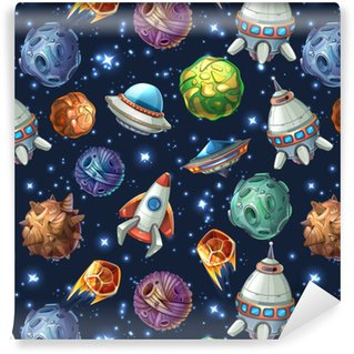 Comic space planets and spaceships. Vector seamless pattern Self-adhesive custom-made wallpaper