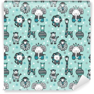 Cute group of animal friends seamless pattern ideal for a background for newborn or birthday celebrations, invitations and parties. Self-adhesive custom-made wallpaper