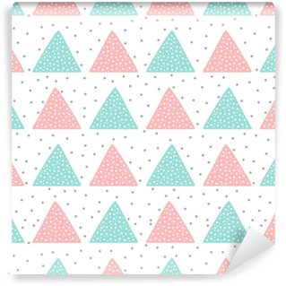 Cute seamless pattern for children. Triangles and round spots. Drawn by hand. Self-adhesive Custom-made Wallpaper