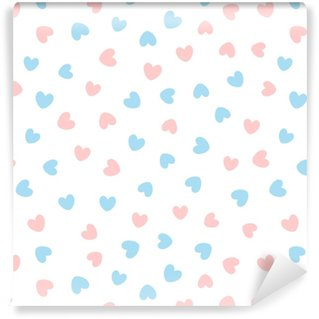 Cute seamless pattern with blue and pink hearts scattered on white background. Self-adhesive custom-made wallpaper