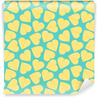 Cute Seamless Pattern With Yellow Hearts Made Of Tortillas Nice Mexican Tortilla Texture For