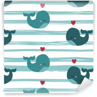 Cute vector kid seamless pattern with whale, heart and line. Self-adhesive custom-made wallpaper