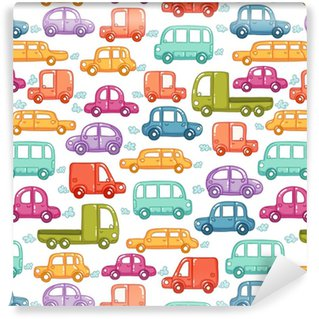Doodle cars seamless pattern Self-adhesive Custom-made Wallpaper