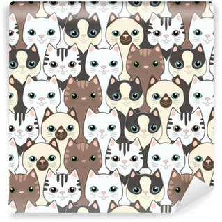 Funny cartoon cats. Seamless pattern Self-Adhesive Wallpaper