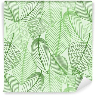Green leaves seamless pattern background Self-Adhesive Wallpaper