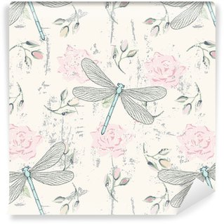 grungy floral seamless pattern with dragonflies Self-Adhesive Wallpaper