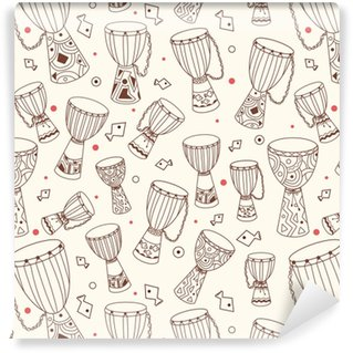 Hand drawn african drums djembe. Ethnic seamless pattern. Vector sketchy texture. Tillable african background with drums for fabric, textile design, wrapping paper or wallpaper. Self-adhesive Custom-made Wallpaper