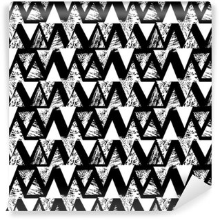 Hand painted bold pattern with triangles Self-adhesive custom-made wallpaper