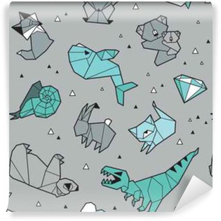 Origami pattern background with animals Self-adhesive Custom-made Wallpaper
