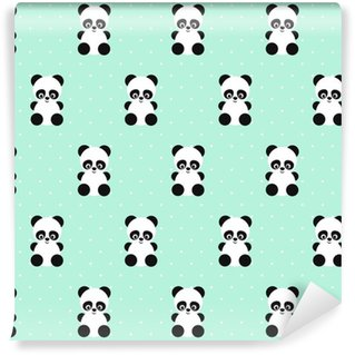 Panda seamless pattern on polka dots green background. Cute design for print on baby's clothes, textile, wallpaper, fabric. Vector background with smiling baby animal panda. Child style illustration. Self-adhesive custom-made wallpaper