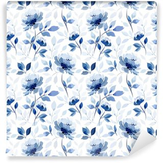 pattern with blue flower rose Self-adhesive Custom-made Wallpaper