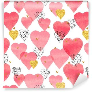 Red watercolor hearts pattern. Valentines Day seamless background. Self-adhesive Custom-made Wallpaper
