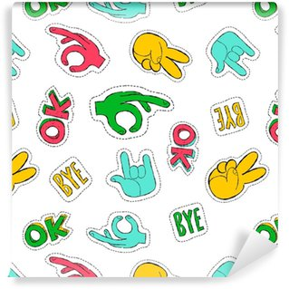 Retro 90s style hand sign patch seamless pattern Self-adhesive custom-made wallpaper